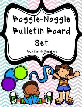 Boggle and Noggle Bulletin Board Set w/ Recording Sheets - Light Chevron