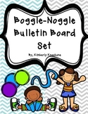 Boggle and Noggle Bulletin Board Set w/ Recording Sheets - Lt Blue Gray Chevron