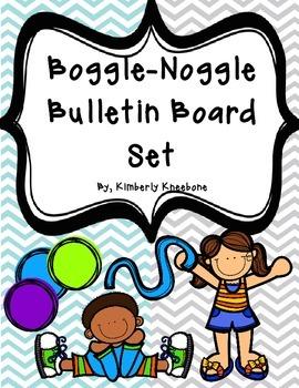 Boggle and Noggle Bulletin Board Set w/ Recording Sheets - Lt Blue Gray Chevron