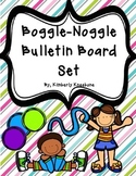 Boggle and Noggle Bulletin Board Set w/ Recording Sheets - Pretty Diag Stripes