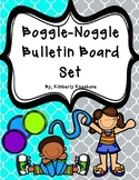 Boggle and Noggle Bulletin Board Set w/ Recording Sheets - Turq Gray Quatrefoil