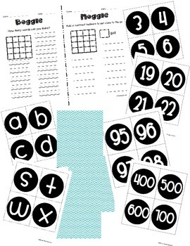 Boggle and Noggle Bulletin Board Set w/ Recording Sheets - Turquoise Chevron
