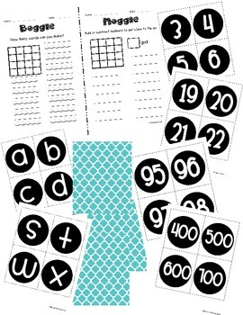 Boggle and Noggle Bulletin Board Set w/ Recording Sheets - Turquoise Quatrefoil
