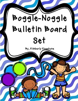 Boggle and Noggle Bulletin Board Set with Recording Sheets - Blue Waves