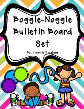 Boggle and Noggle Bulletin Board Set with Recording Sheets - Pretty Chevron