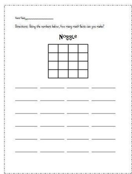 Boggle and Noggle Worksheets