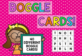 Boggle cards {40 different cards- 16 letters}