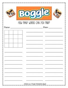 Boggle sheet