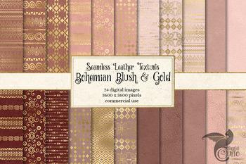 Bohemian Blush and Gold Digital Papers, pink boho seamless patterns