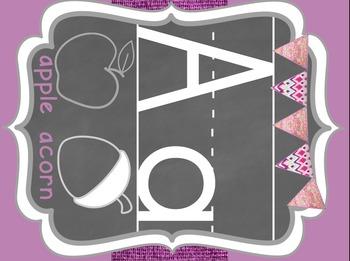Bohemian Chic Alphabet Set Bright Print Burlap