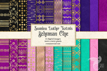 Bohemian Chic Digital Paper, gold pink purple and turquoise seamless backgrounds