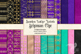 Bohemian Chic Digital Paper, gold pink purple and turquois