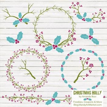 Bohemian Christmas Holly Clipart