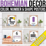 Bohemian Classroom Decor - Color, Number and Shape Posters