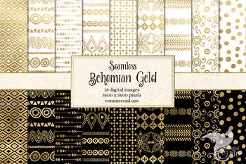 Bohemian Gold Digital paper, rustic seamless boho patterns