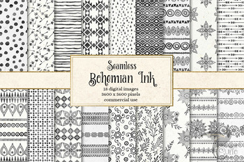 Bohemian Ink Digital Paper, seamless watercolor boho patterns