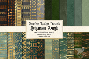 Bohemian Jungle digital paper, seamless boho gold and green patterns