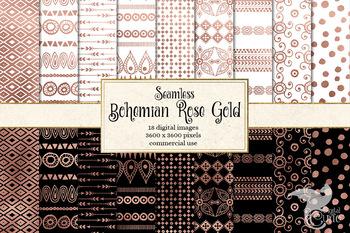 Bohemian Rose Gold Patterns, digital paper seamless backgrounds