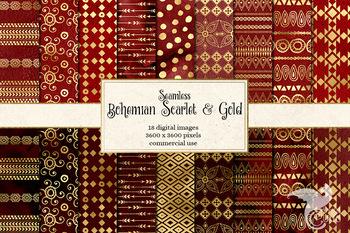 Bohemian Scarlet and Gold digital paper, red boho seamless patterns