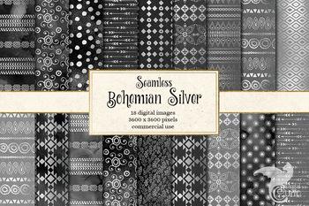 Bohemian Silver Digital Paper, seamless boho pattern textures
