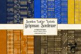 Bohemian Sunflower digital paper, seamless boho gold patterns