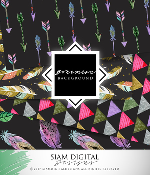 Bohemian Themed Digital Paper to Add Some Color to Your Projects!