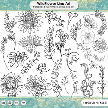 Bohemian WildFlower Silhouettes & Black LineArt, Hand Drawn Wild Flower Doodles