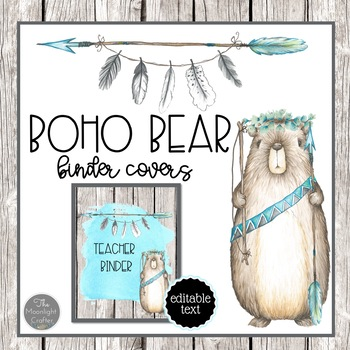 Boho Bear Binder Covers for Teachers