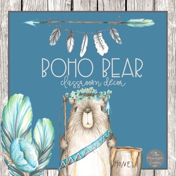 Boho Bear Tribal Classroom Decor Set Two