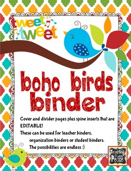 Boho Bird Binder Pages *editable*