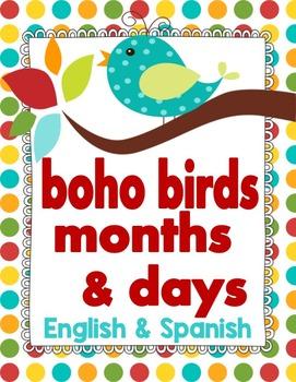 Boho Bird Months and Days Headers **English & Spanish**