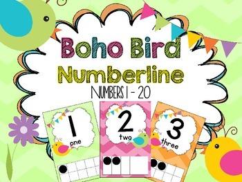 Boho Bird Number Line