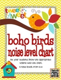 Boho Bird Theme Noise Level Chart