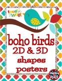 Boho Birds 2D & 3D Shapes Posters