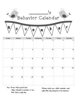 Boho Birds 2016 2017 Behavior Calendars