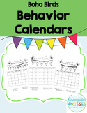 Boho Birds 2016 2017 Behavior Calendars