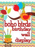 Boho Birds Birthday Wall Display