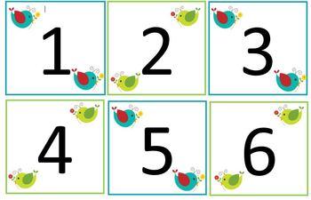 Boho Birds Calendar Numbers (AB Pattern)