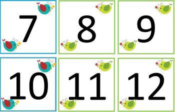 Boho Birds Calendar Numbers (ABB Pattern)