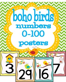 Boho Birds Numbers 0-50 Posters