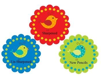 Boho Birds Pencil Bucket Labels