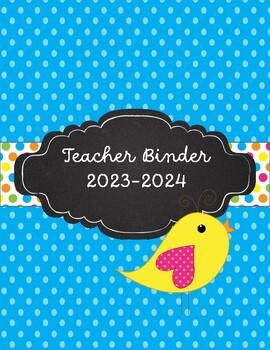 Boho Birds Teacher Binder for 2017-2018  Polka dots and Brights!