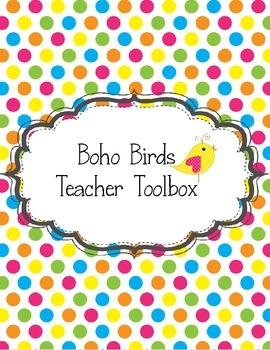 Boho Birds Teacher Toolbox Green Yellow Pink Blue Purple Polka Dots