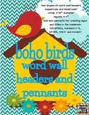 Boho Birds Theme Word Wall Headers and Title Pennants