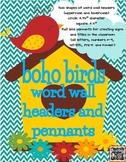 Boho Birds Theme Word Wall Headers and Title Pennants