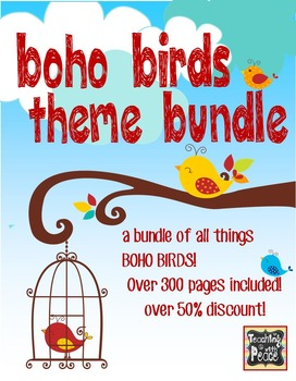 Boho Birds Theme Classroom Decor Bundle