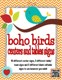 Boho Birds Theme Centers and Tables Signs *editable*