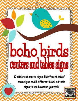 Boho Birds Theme Centers and Tables Signs *editable*