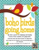 Boho Birds Theme Going Home *clip chart system*