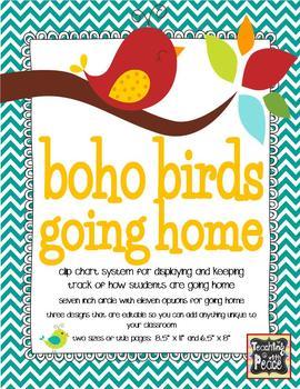 Boho Birds Theme Going Home *clip chart system*